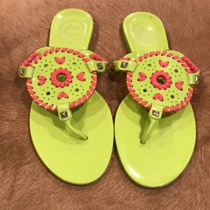 Jack Rogers Georgica Jelly Sandals Pink and Green